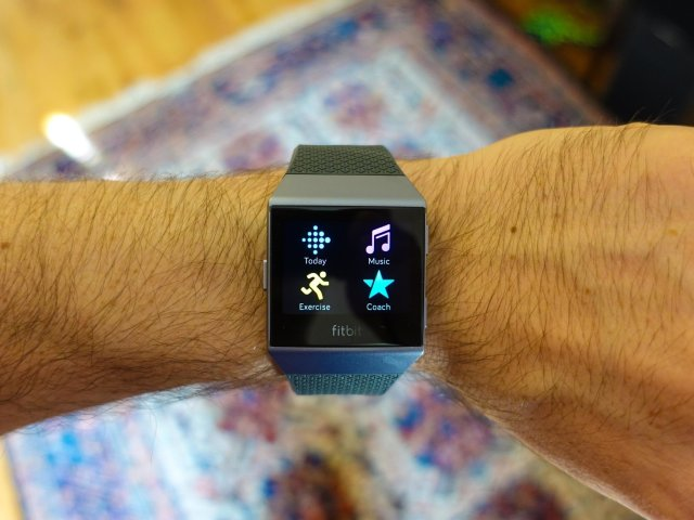Fitbit Ionic being worn on a wrist
