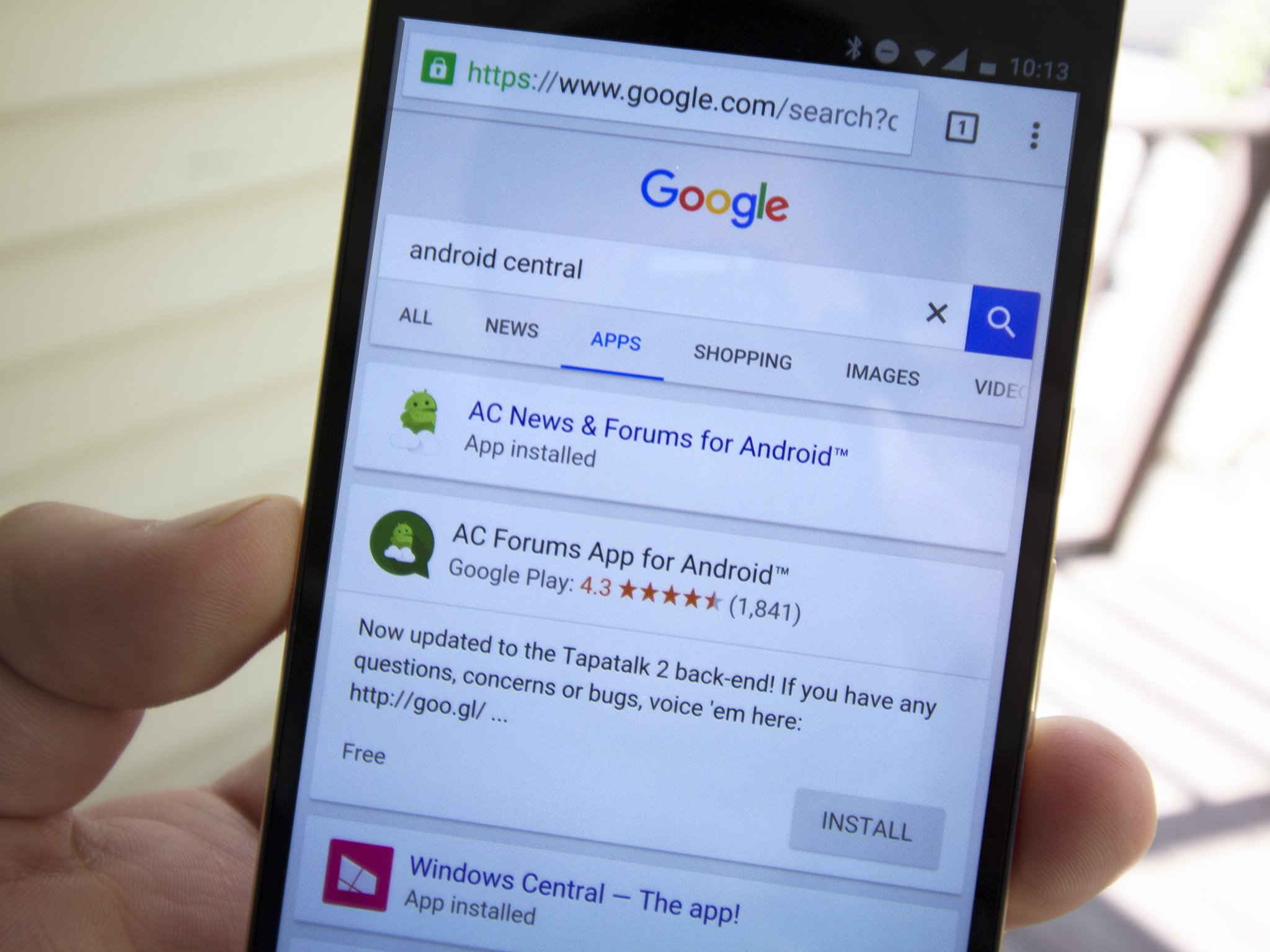 Apps in Google mobile search results