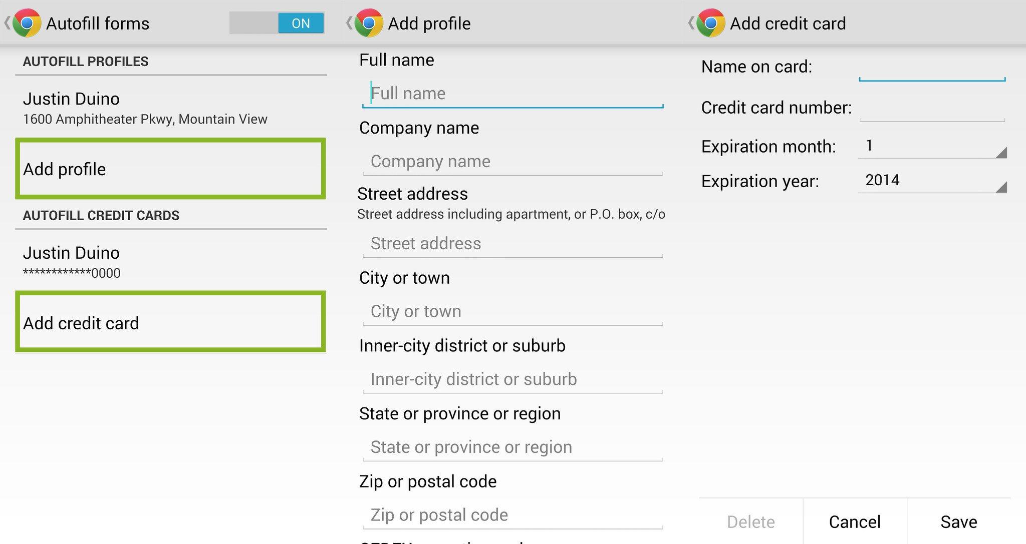 Chrome Autofill Add Profile