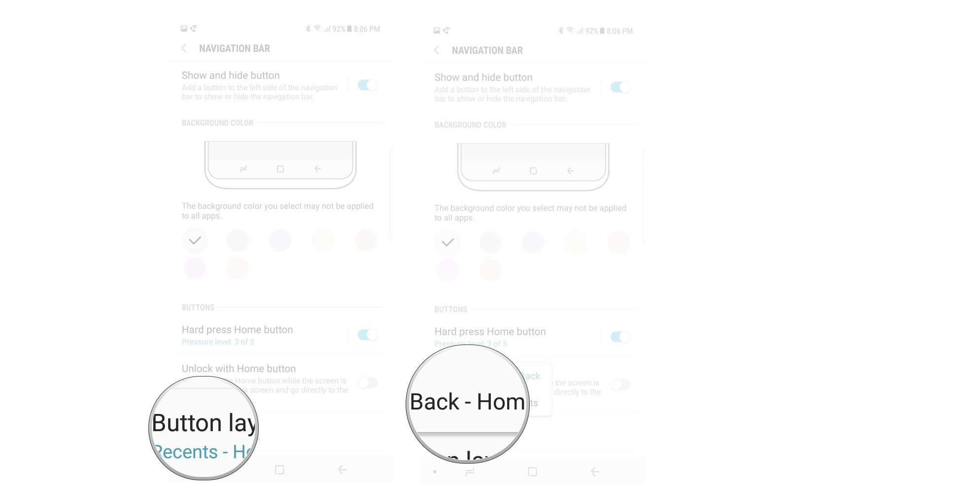 hight resolution of tap button layout tap the new button layout you want to use