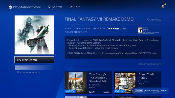 How to download the Final Fantasy 7 Remake demo on PS4 | Android ...