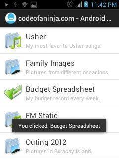 """When user clicks on an item """"Budget Spreadsheet"""""""