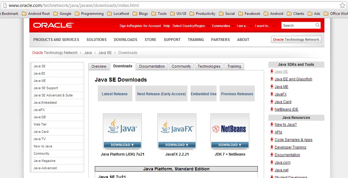 Download the Java Platform (JDK), the one on the left side.