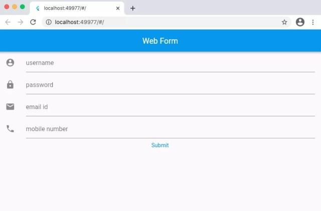 flutter web app form