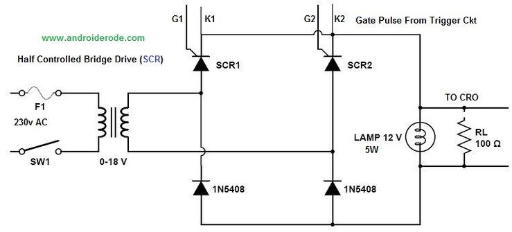 Single Phase Half Controlled Bridge Circuit