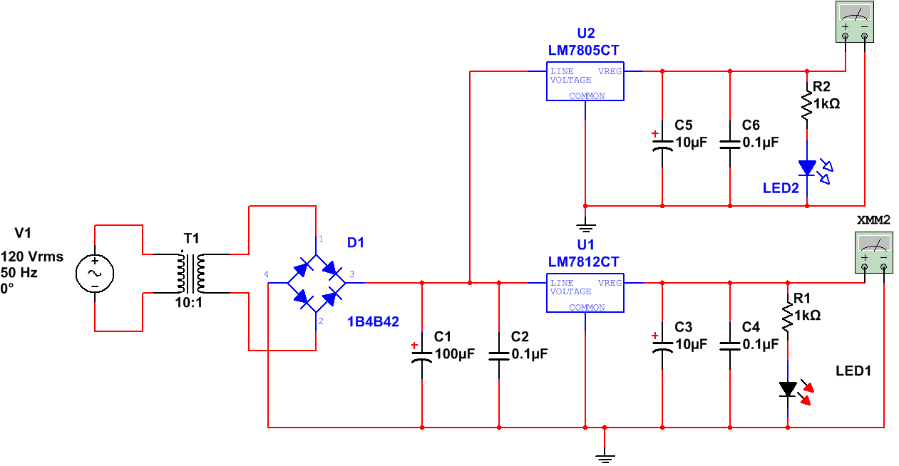 hight resolution of aim to design the single sided pcb layout for positive voltage regulator using 7805 and 7812 ic with multisim apparatus required
