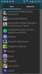 Selección de aplicación