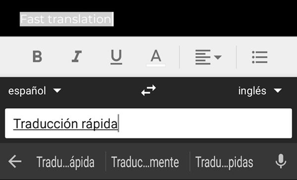 Traduce de manera rápida desde le teclado