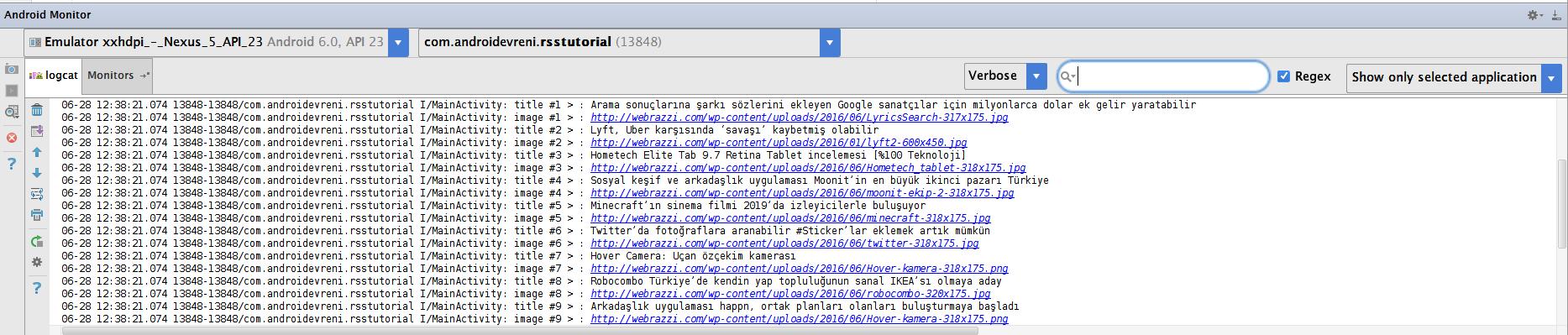 Android te RSS İle Çalışmak - Postlara ait bilgileri Logcat e yazdırdık