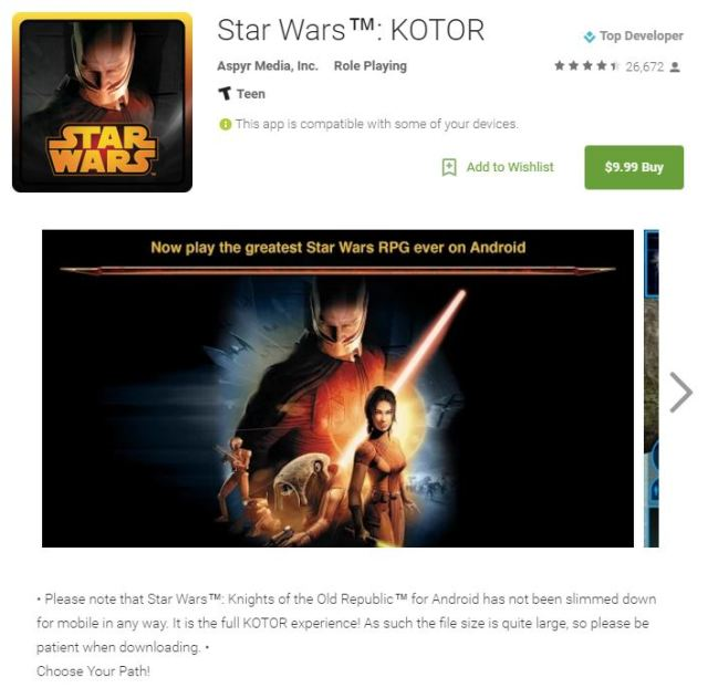 The same exact Star Wars App for $9.99 at the Google Play Store