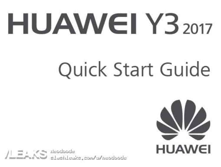 Supposed Huawei Y3 (2017) Leaks Alongside Its User Manual