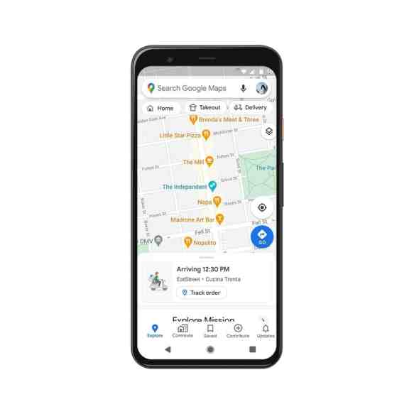 Live google maps delivery status