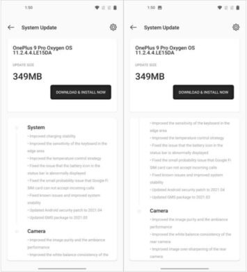 OnePlus 9 & 9 Pro OxygenOS 11.2.4.4 Brings April Security