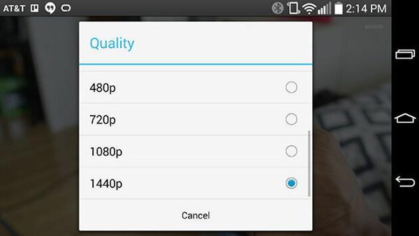 YouTube LG G3 1440p