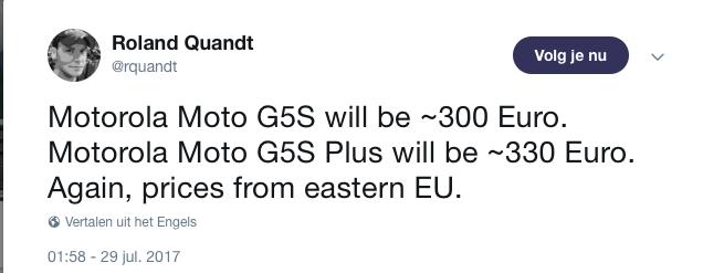 Roland Quandt Tweet prijs Moto G5S Plus
