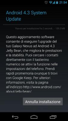 Aggiornamento Android 4.3