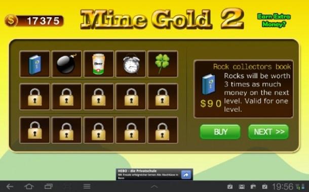 Das Hauptmenü der Goldmine