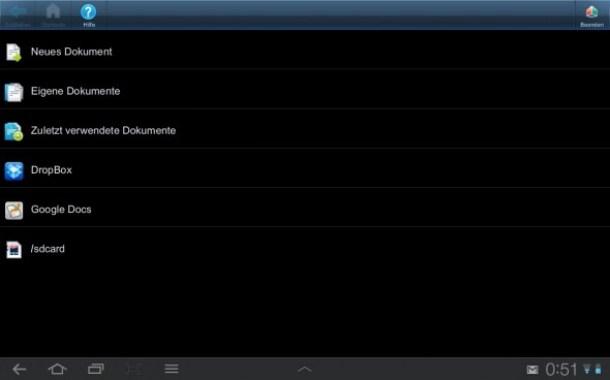 Der Startbildschirm von Smart Office+
