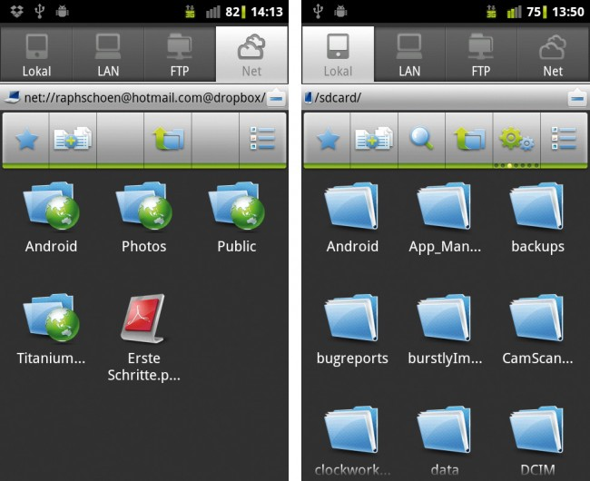 Dateien und Ordner lassen sich nicht nur auf dem lokalen Speicher des Android-Gerätes verwalten, sondern können auch über LAN, FTP-Server oder Dropbox-Ordner gemanagt werden.