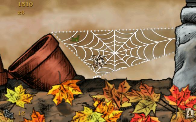 """Zum Aufspannen eines Netzes ist es erforderlich, die Spinne durch Doppeltapp """"am Boden festzukleben"""". Im darauffolgenden Sprung zieht der Arachnide eine Seidenspur hinter sich her – wenn die Seidenstränge eine """"geschlossene Figur"""" ergeben, so entsteht daraus ein fertiges Spinnennetz."""