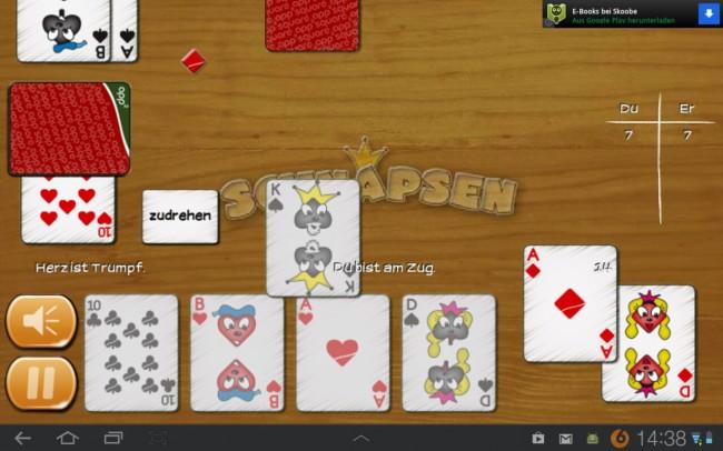 Das Spielprinzip ist bekannt, auch gegen einen virtuellen Gegner macht Schnappsen schnell süchtig.