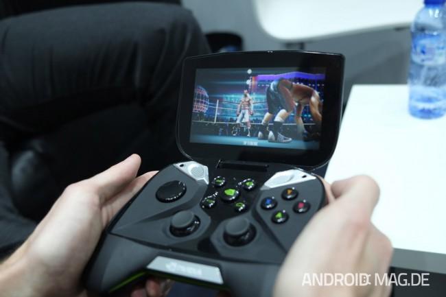 Das Gerät wird von dem ebenfalls gezeigten neuen Tegra 4-Prozessor angetrieben. Foto: androidmag.de