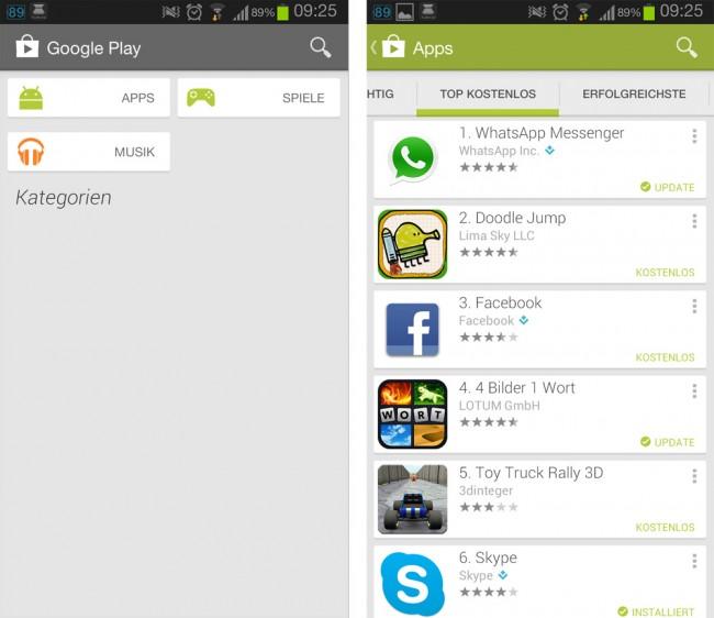 Der Google Play Store kommt in einer neuen Version und mit neuem Design. Foto: Androidmag.de