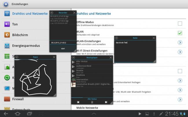 Die Tiny Apps lassen sich gleichzeitig auf dem Bildschirm anzeigen.