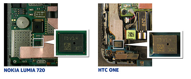 Um dieses Bauteil dreht es sich: Das Dualmembran-Mikrophon des HTC One ähnelt dem des Lumia 720.