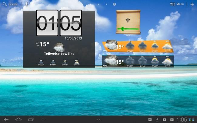 Mit Beautiful Widgets holst du dir zahlreiche Funktionen, wie ausführliche Wetterdaten, Notifications für das Wetter und weitere Toggle Widgets, zum Beispiel für Bluetooth, Helligkeit, GPS, Lautstärke, Vibrationsmodus, uvm.