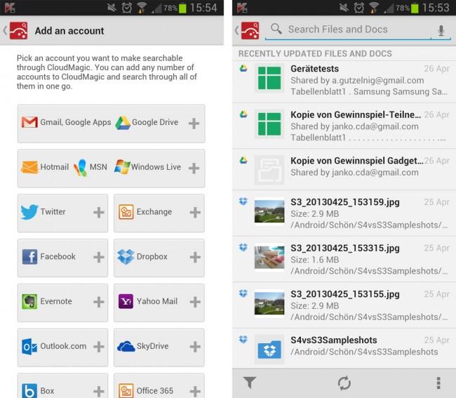 Mit Cloud Magic behältst du den Überblick über deine Daten bei den verschiedenen Cloud-Speicher und sozialen Netzwerke.