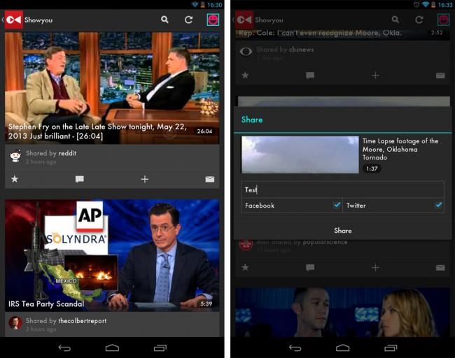 """Die kostenlose App Showyou listet dir übersichtlich aktuelle Videos aus unterschiedlichen Quellen auf.  Die Videoquellen darfst du dir aus gut gefüllten Kategorien wie """"News"""", """"Sports"""" und """"Comedy"""" zusammenstellen."""