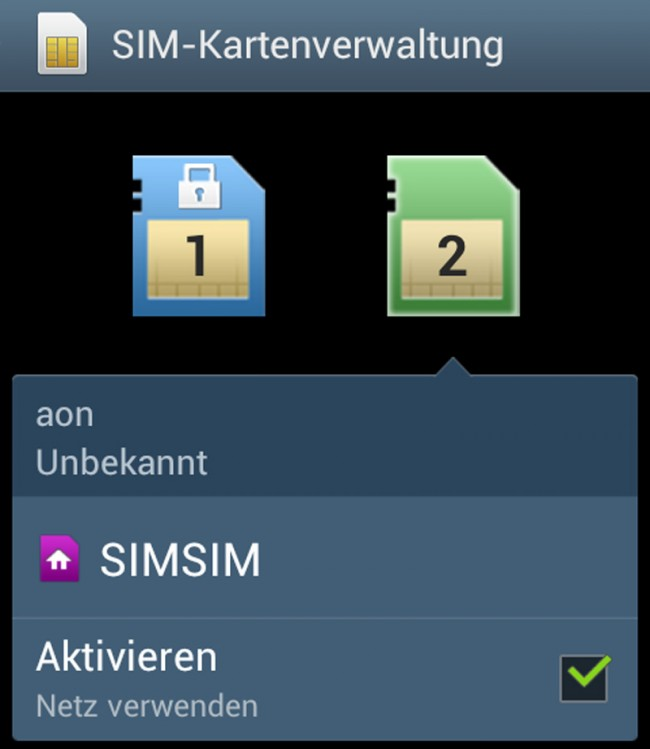SIM und SIMSIM habe ich die beiden Karten getauft und am Symbol erkennen Sie, welche Karte für berufliche und welche für private Gespräche vorgesehen ist.