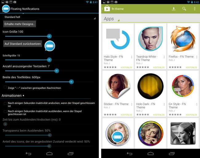 Das Aussehen der Benachrichtigungs-Icons lässt sich auf vielfache Art und Weise anpassen. Zudem stehen im Play Store eine Reihe weiterer, kostenloser Design-Pakete zur Verfügung.