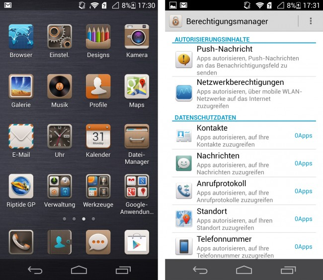 Die Benutzeroberfläche erinnert aufgrund des fehlenden App-Drawers eher an iOS als an Android.