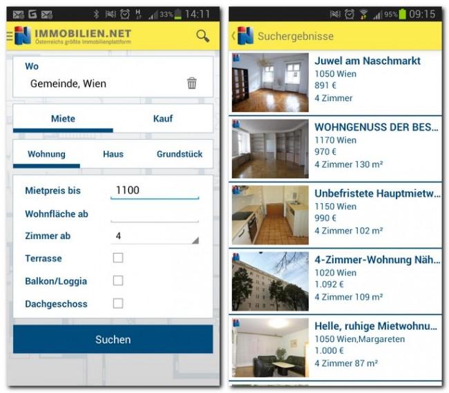 Immobilien suchst du anhand der wichtigsten Kriterien, die Ergebnisse werden in Listenform dargestellt.