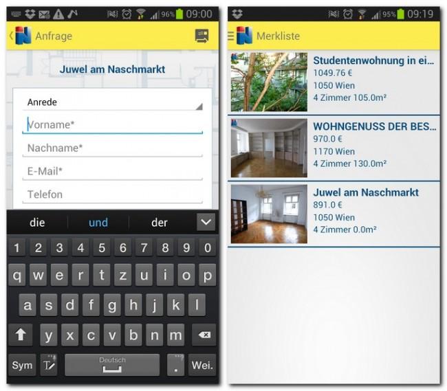 Gefällt dir eine Wohnung, schickst du gleich aus der App eine Anfrage oder speicherst die Immobilie in der Merkliste ab.
