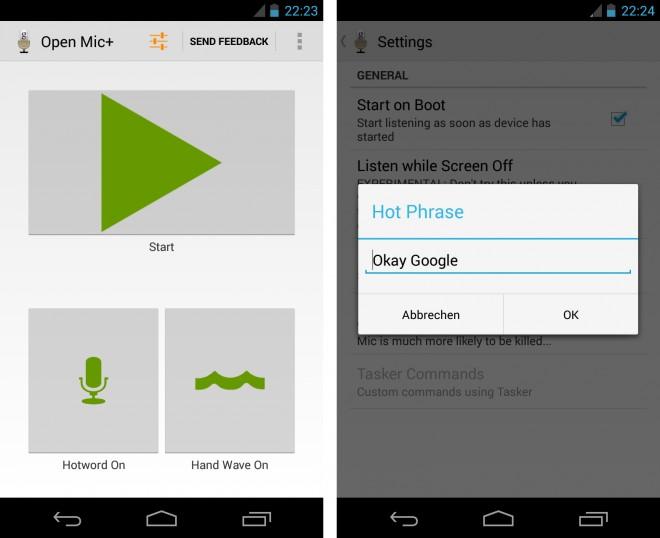 Die App Open Mic+ erlaubt es dir, den sprachgesteuerten Assistenten Google Now mittels eines gesprochenen Befehls aufzurufen.