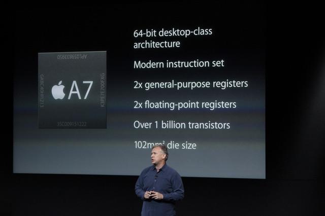 Bei der Keynote des iPhone 5S wurde mit dem Apple A7 der erste mobile 64-Bit-Prozessor vorgestellt.