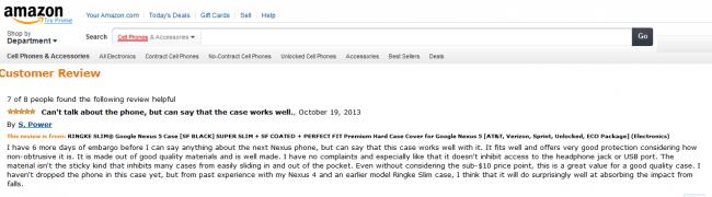 Laut einem Reviewer auf Amazon dauert das Embargo für Informationen bezüglich Nexus 5 noch 5 Tage.