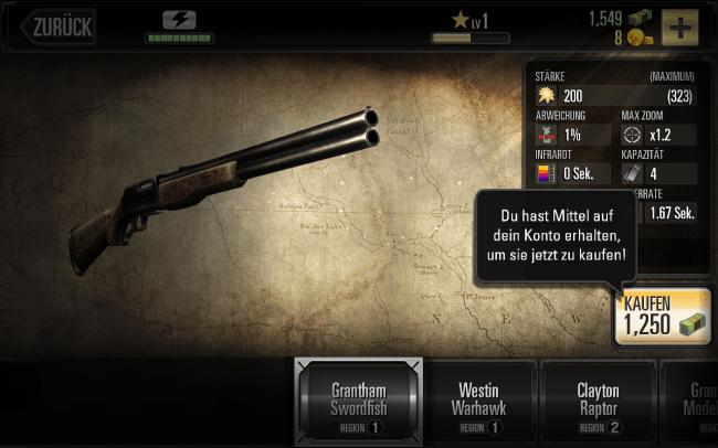 Mit dem eingesammelten Geld kannst du deine Waffe verbessern oder weitere Waffen kaufen.