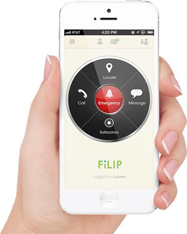 Die Filip-App mit den Menüpunkten zur Lokalisierung, Anruf, Nachricht und mehr. (Bild: Filip)