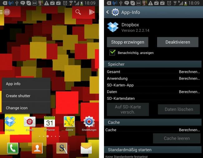 Vom Launcher aus kommt man direkt zu den App-Informationen.