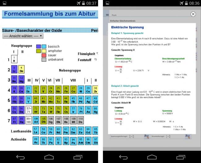 Die Premium-Version bietet zusätzlich eine interaktive Darstellung des Periodensystems der chemischen Elemente sowie sehr hilfreiche Anwendungsbeispiele für die einzelnen Formeln.