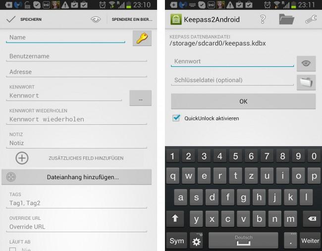 Die Datenbank wird auch mit einem Passwort und optional mit einer Schlüsseldatei versehen.