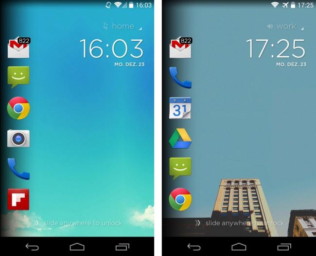 Die Sperrbildschirm-Software Cover zeigt Symbole für diejenigen Apps an, die du an deinem gegenwärtigen Aufenthaltsort am wahrscheinlichsten benötigst.