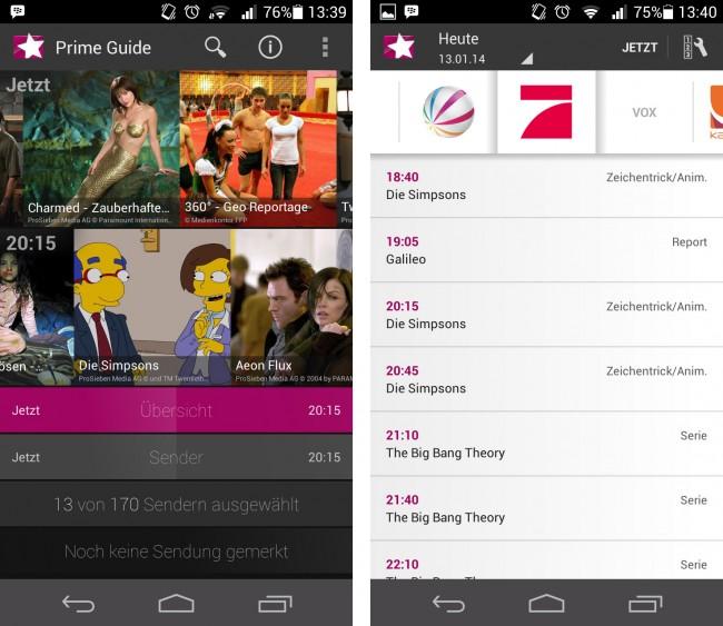 Auch auf Smartphones verschaffen Sie sich mit Prime Guide einen schnellen Überblick über das TV-Programm.