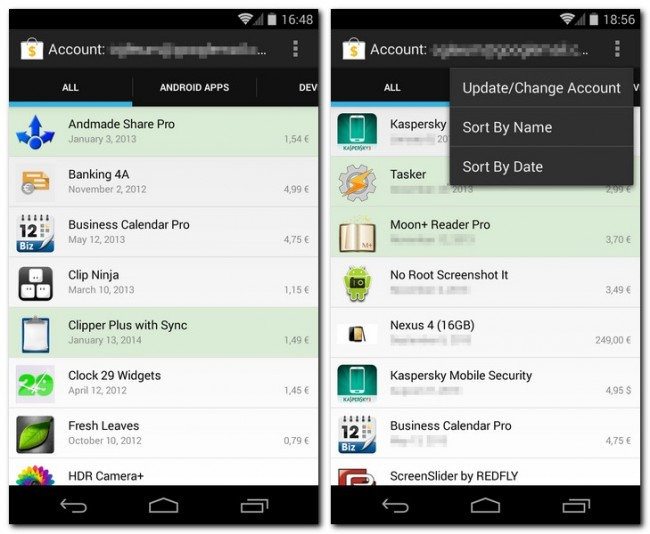 Das Programm My Paid Apps zeigt dir eine Liste aller Apps und Geräte an, die du im Play Store gekauft hast.