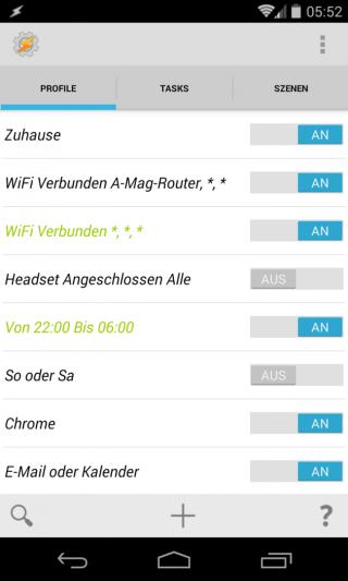 """Im """"Profile""""-Fenster listet Tasker alle vorhandenen Automatikfunktionen auf. Die momentan aktiven Profile sind grün markiert."""