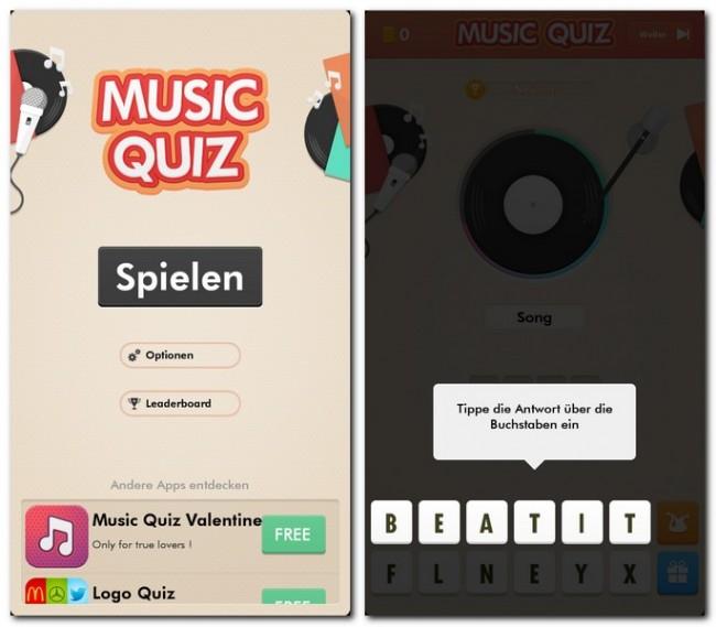 Bei Music Quiz wurde kein neues Spielprinzip erfunden.  Du musst lediglich Musiktitel oder Artisten erraten.